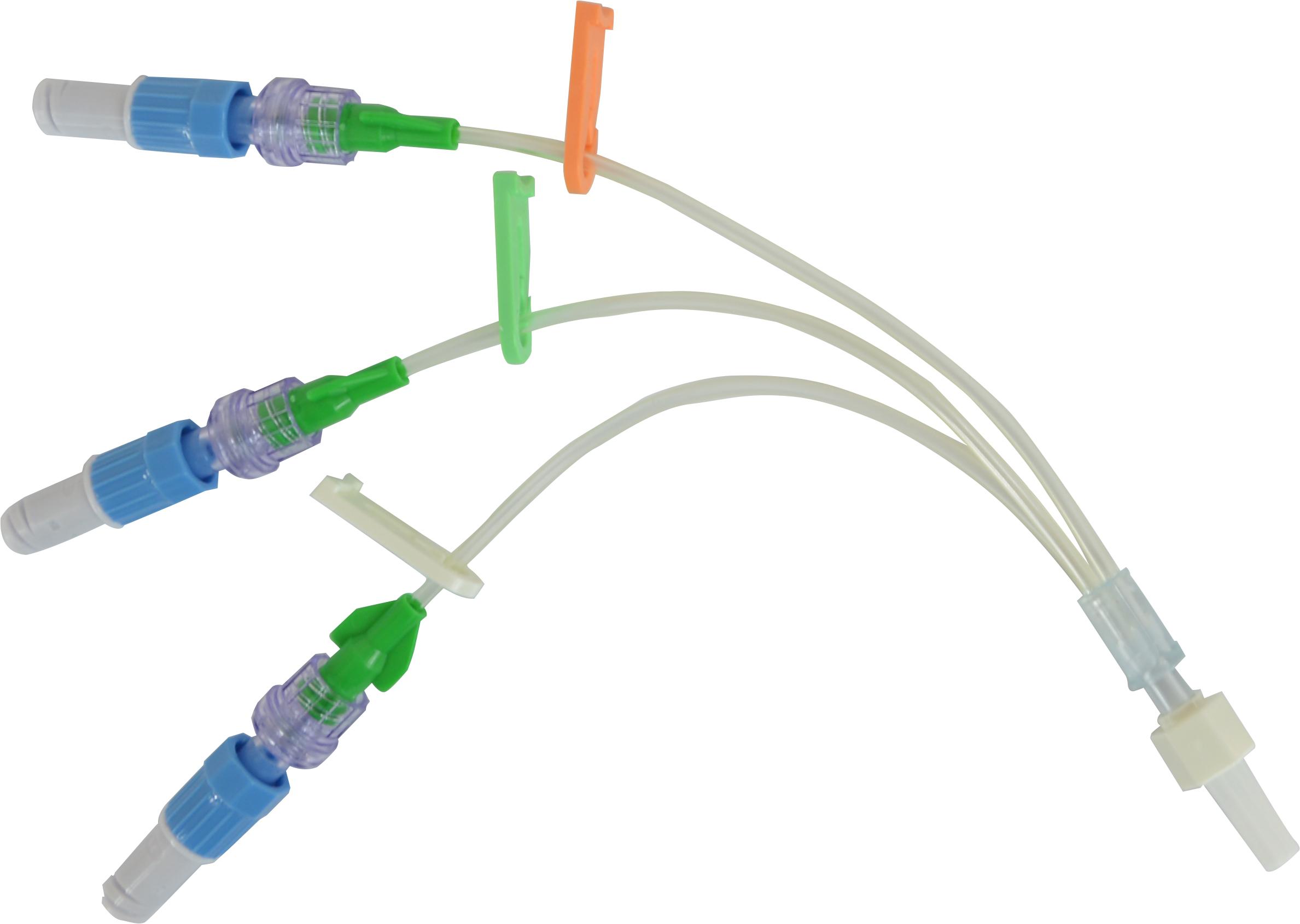 Triple lumen extension tube with Autoflush